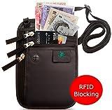 Portadocumentos de cuello - Bolso de viaje para el cuello - Porta Pasaporte de cuello con Bloqueo RFID - Cartera de Viaje Anti-Robo para Mujeres, Hombres y Niños
