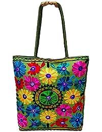Verde Suzani Bordado Bolsos Indios Handmade Algodón Diseñador Hombro Bolsos Mujeres Partido Desgaste Étnico Bolsas