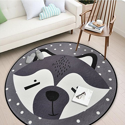 Amberzcy Teppiche auf weißem Tier Bild Rundschreiben Geeignet für Schlafzimmer/Wohnzimmer/Tisch Matte/Computer Stuhl Cushdr (größe : 60*60cm) - Distressed Weiß Computer