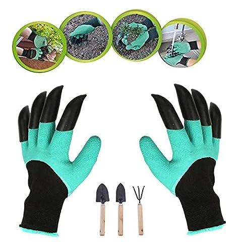 snoyabecca Garten Handschuh mit Kralle Fingerspitzen (1Paar) und 3Gartenwerkzeug Kelle