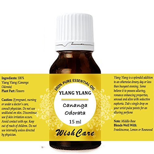 WishCare Ylang Ylang Essential Oil 15 ML - 100% Pure, Undiluted & Natural Therapeutic Grade - For Aromatherapy & Massage