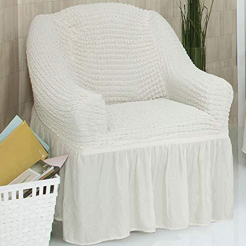 Mixibaby Sofabezug Sofahusse Sesselbezug Sitzbezug Sesselüberwurf Stretchhusse 1 er Sofa, Farbe:Cream