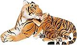 BRUBAKER Stofftier Tiger mit Baby braun 100 cm