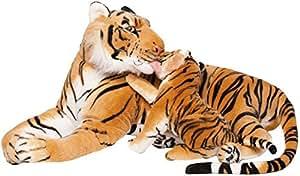 BRUBAKER Stofftier Tiger mit Baby braun 100 cm: Amazon.de