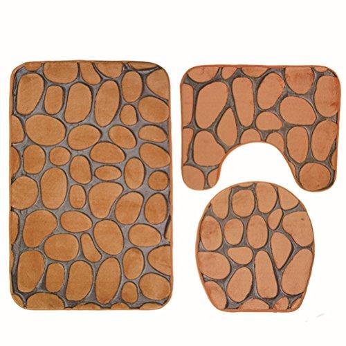 Bin Bin Die Neue Pebble WC-Matte Dreiteilige Badezimmer Anti-Rutsch-Saugfähigen Teppich Anzug 3D Geprägte Muster,Yellow (Gestreifte Boden-matte)