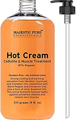 Majestic Pure Anti Cellulite Cream, 87% Organic Fat Burner Cream, 9 Oz - Tight Muscles & Joint and Muscle Pain, Natural Cellulite Treatment - Soothes, Relaxes, and Tightens Skin from Majestic Pure