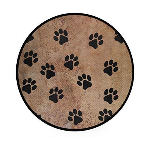 MONTOJ Haustier-Teppich mit Pfotenabdruckmotiv, rund, rutschfest, für Wohnzimmer, Schlafzimmer -