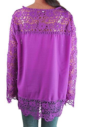 SODIAL(R) Automne Mode Chemisier de Femmes Noir de Dentelle Mousseline De Soie de Fleur Creux-dehors au Crochet a Manches Longues Chemises de loisir Feminines L Violet