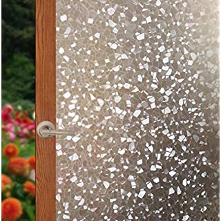 Arthome Frosted Decorative Privacy Window Films No Glue Self Static Cling Anti UV Non-Adhesive Removable for Bathroom Living Room Bedroom Kitchen Office Home (AH021, 17.7 x 100 inch)