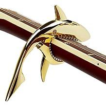 Capotasto per Chitarra per Chitarre Acustiche e Elettriche, in Lega di zinco Stile squalo Facile Usare con una sola mano, Imbottitura morbida silicone (Oro)