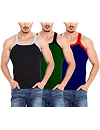 Inner's Hub G.B Mens Cotton Rib Sleeveless Gym Vest Inner wear Combo Pack of 3 (Assd, Colors Will Be Sent,Colors May Vary)