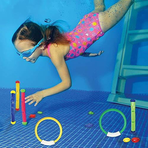 JOYIN Juguetes de Buceo 18 Piezas Juegos de Agua Verano Piscina Juguetes para Nadar bajo el Agua Conjunto Juguetes de Entrenamiento Torpedo Bandit