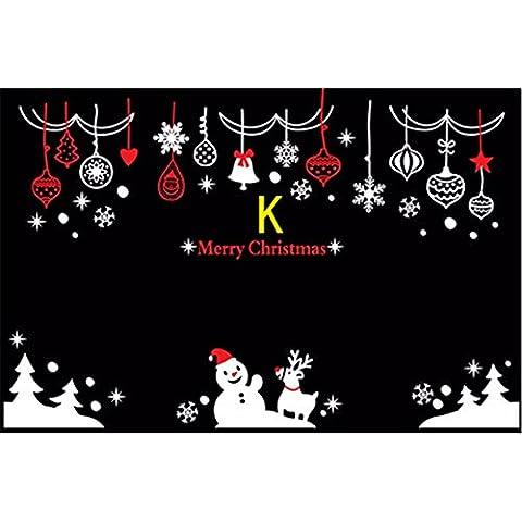 Wall stickers decorazione murale?natale decorazione decorationsChristmas poster vetrina Decalcomanie Natale pupazzo di neve IV.K) + rosso , Bianco Extra Large
