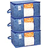 Kuber Industries Leheriya Design Underbed Storage Bag, Storage Organiser, Blanket Cover Set of 3 - Royal Blue, Extra Large Size - CTKTC0015228