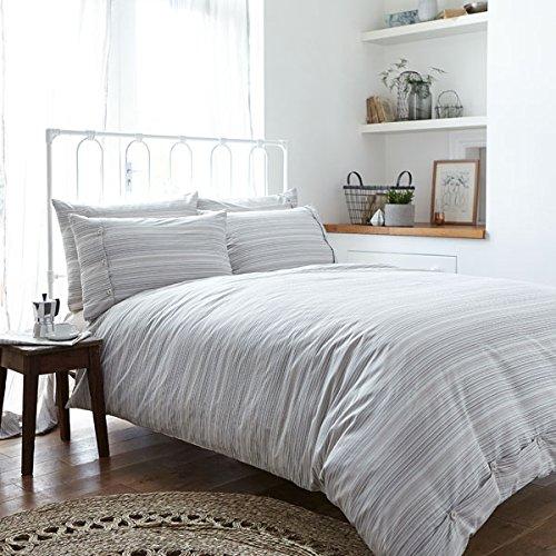 Bianca Cotton Soft - Bettwäsche-Set - Bettdecken- & Kissenbezug - 100% gewebte Baumwolle mit Streifen - Naturfarben - Einzel (Bettdecke Bettwäsche Ensembles)