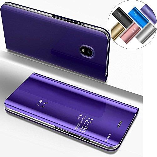COTDINFOR Samsung J7 2017 (European Version) Hülle Ledertasche Handyhülle Slim Clear Crystal Spiegel Ständer Etui Schutzhüllen für Samsung Galaxy J7 Pro / J7 2017 SM-J730 Mirror PU Purple MX.