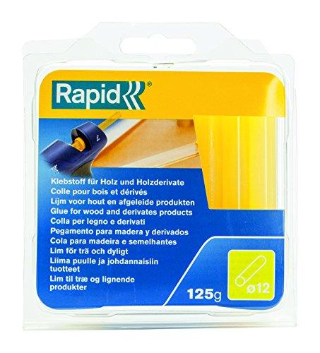 Rapid, 40107360, Bâtons de colle thermofusible, Pour bois, Jaune, ø12mm, Longueur 94mm, 125g