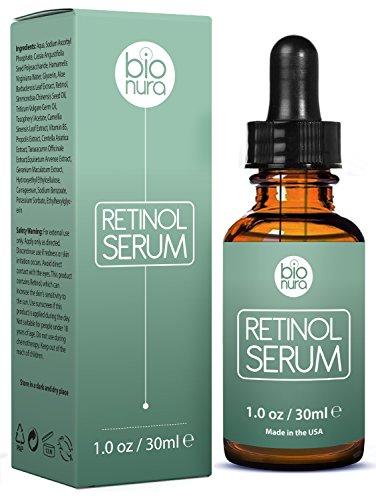 Bionura Retinol Serum mit 2,5% Retinol, 20% Vitamin C & 10% Hyaluronsäure – Die beste Natürliche Anti Aging & Anti Falten Retinol Behandlung für Sensible Hautohne die irritierenden Nebenwirkungen. 30 ml - 2