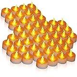 LED-Kerzen, 50 Stück LED-Teelichter Kerzen CR2032 batteriebetriebene Kerzen Flammenloses Teelicht hell flimmernd 100+ Stunden(Warmes Gelb, 1 × 50)