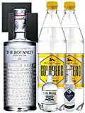 Gin-Set The Botanist Islay Dry Gin 0,7 Liter The Duke München Dry Gin 5 cl + Citadelle Gin aus Frankreich 5 cl + 2 x Goldberg Tonic Water 1,0 Liter + 2 Schieferuntersetzer quadratisch 9,5 cm