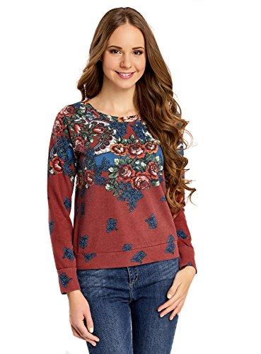 oodji Ultra Damen Sweatshirt mit Druck, Rot, DE 36 / EU 38 / S