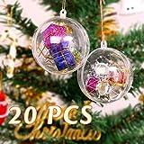 20 stück Acrylkugeln Weihnachtskugeln Transparente weihnachtskugeln als Saisonal Deko Hochzeitsdeko hängender Kugel weihnachtskugeln durchsichtig deko kugeln christbaumkugeln (80 mm)
