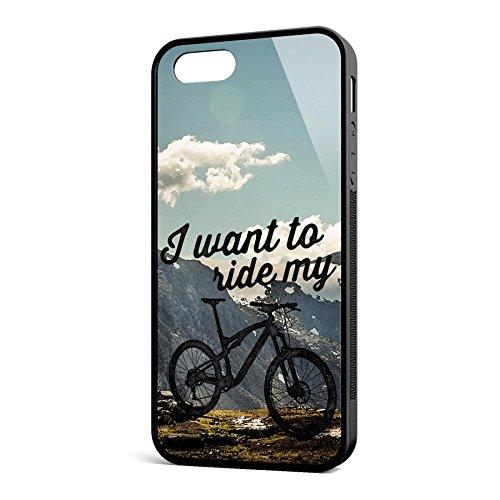 Smartcover Case I want to ride my MTB z.B. für Iphone 5 / 5S, Iphone 6 / 6S, Samsung S6 und S6 EDGE mit griffigem Gummirand und coolem Print, Smartphone Hülle:Iphone 6 / 6S schwarz Iphone 5 / 5S schwarz