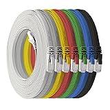 1aTTack.de 0,5m - 7-Farben - 7 Stück CAT.7 Flachkabel Netzwerkkabel Rohkabel Gigabit Lan (10Gbit/s) Flachbandkabel Verlegekabel Flach Slim