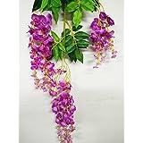 Artificial Wisteria, 12pcs simulación artificial Wisteria Vine Decoración de seda flores 110cm para boda hogar eventos, purple-red