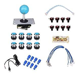 Cewaal Comando Joystick del regolatore del USB di DIY del giocatore di Arcade del gioco del giocatore di 36Pcs Set di accessori con pulsante LED e pulsante