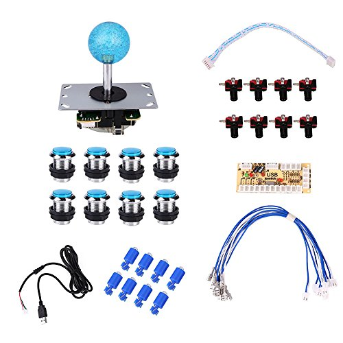 Cewaal 36Pcs 2 Spieler Arcade Spiel DIY USB Steuerpult Joystick Zubehör Set mit LED-Licht und Drucktaste (Einfach Zu-build-projekte)