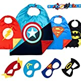 LAEGENDARY Halloween Superhelden Kostüm für Kinder – Kleinkind Superhelden Party Outfit - Spielzeug für Jungen und Mädchen - 4 Capes und Maske – Im Dunkeln Leuchtendes Captain America Logo