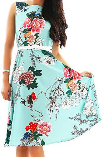 YMING Damen Partykleider Blumenkdruck CocktailkleidPetticoat Kleid Hochzeitgast Brautjunferkleid,Grün,Blumen,XL/DE 42-44