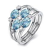 KnSam Damen-Ring 925 Sterling Silber 3x5mm Topas Zirkonia Ovalschliff Verlobungsringe Rosegold Ringgröße 63 (20.1) Modeschmuck