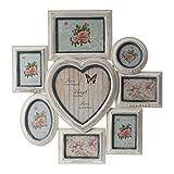 elbmöbel Fotorahmen Collage braun mit Herzform aus Holz antik vintage shabby chic