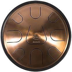 Zenko Akebono–acero lengua tambor–9tonos–Instrumento musical–Deluxe funda intuitivo, apoyo y mazos incluido