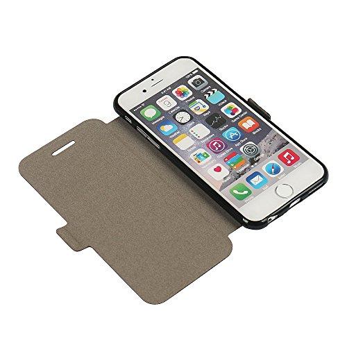 iPhone 7 Hülle, iPhone 8 Hülle, MTRONX Case Cover Schutzhülle Tasche Etui Klapphülle Magnetisch PU Leder Weich TPU Folio Flip Ständer für Apple iPhone 7 iPhone 8 - Schwarz(MS-BK) Grau