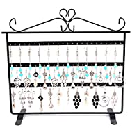 Lawei Black 72 Holes Jewelry Organizer - 12.6 x 11.2 inch 3 Layer Display Stand for Hanging Earring