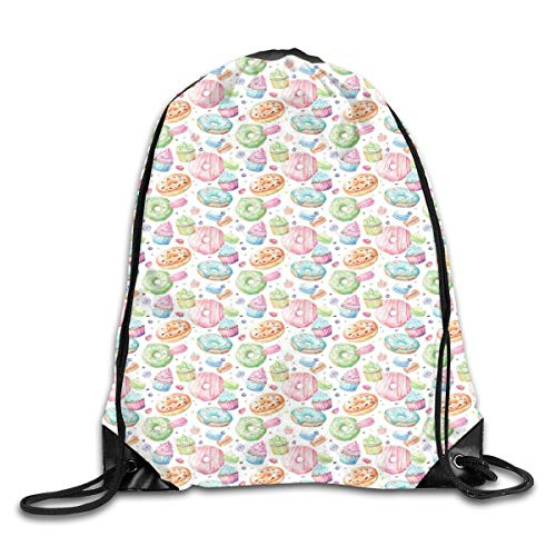 YOWAKi Printed Drawstring Backpacks Bags,Candy Shop Inspired Whipped Cream Topped Cupcakes Swirl Lollipops Macarons Donuts,Adjustable String Closure (Macaron-box-party Favor)