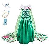 YOSICIL Princesa Disfraz Frozen Elsa Verde Disfraces Princesas Disfraz Infantil niña Bordado Fancy Dress con Mangas de Encaje Transparente Princesa Cosplay Vestido para Niñas 100cm-150cm