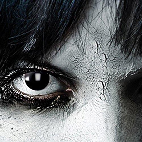 Farbige Kontaklinsen in SCHWARZ für Zombie oder Vampir Kontaktlinse der Marke LEO EYES-Qualität zum kleinen Preis-ideal zu Halloween, Karneval, Fasching oder Fasnacht-ohne Stärke