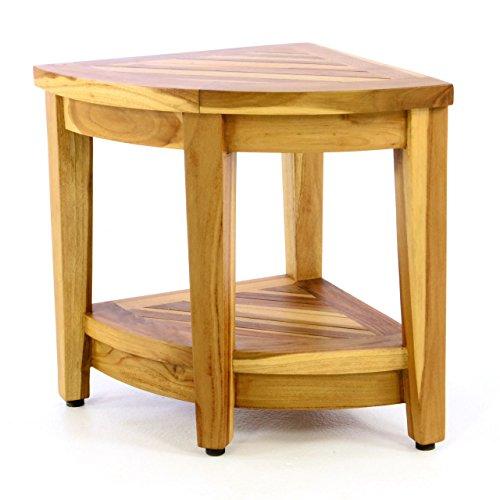 DIVERO Ecktisch Beistelltisch Eckregal - massiv rustikal unbehandelt aus Teak-Holz reine Handarbeit Farbe natur hell