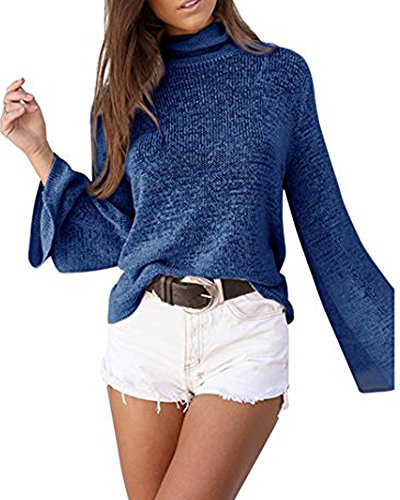 Junshan Pullover Femmes Manches Longues Casual Loose Blouse Tops Bleu