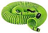 Kinzo - Kit completo 30con metri di tubo da giardino a spiralecon doccia da giardino a 5funzioni rapido da collegare attacco rubinetto  da 1/2pollice