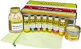 METALL-SCHMUCKBOX Wellness Geschenkset VIENNA, Entspannung pur mit 7 BIO Massageölen im Organzabeutel + 100ml Natur Massagekerze + Badesalz Gold, hochwertiges Geschenk Set Weihnachten Muttertag