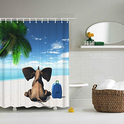 ng 180x180 Textil Schimmelresistenter Wasserabweisender Stoff-Duschvorhang Shower Curtain 180x180cm (Baby Elefanten 4) (Rabatt Baby-dusche Dekorationen)