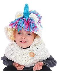 63217f0b03f65 CGN Niños Sombrero Animal Gorro Tejer Bufanda Lindo Unicornio Borla Beanies  Invierno Caliente Sombrero de Ganchillo Bufanda cofia para…