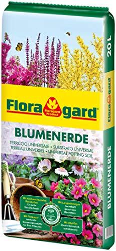 Floragard Blumenerde 20 L - Universalerde für Zimmer-, Balkon- und Kübelpflanzen - mit Ton und Langzeitdünger