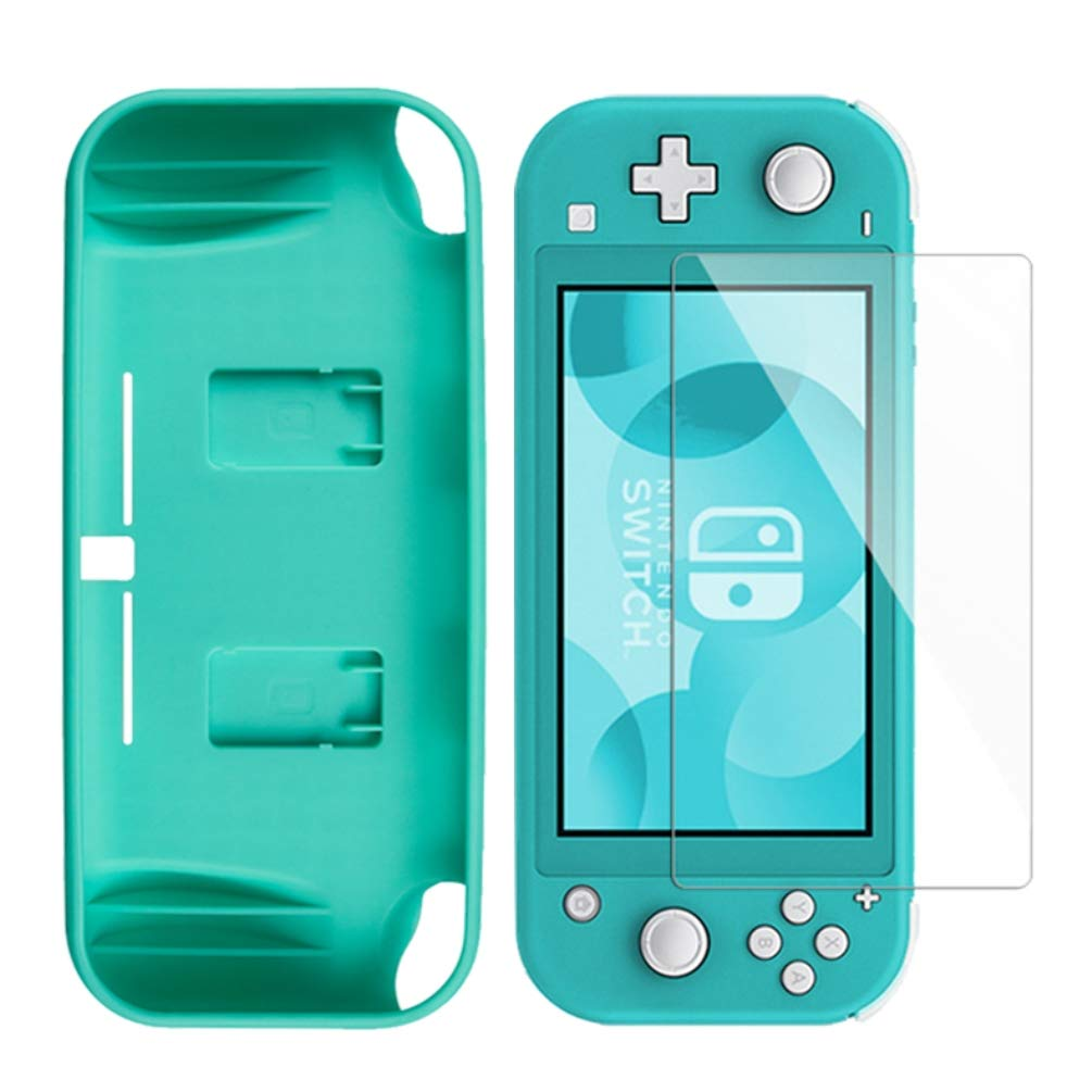 Coque & Verre Trempé Nintendo Switch Lite , Transparente TPU Case avec technologie de coussin d'air [Absorption des chocs] [9H dureté] Protection écran Pour Nintendo Switch Lite Bleu