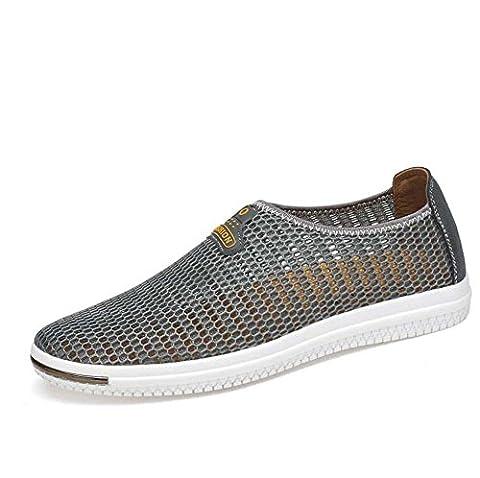 Pump Slip On Loafer Net Yarn Mesh Sandals Casua Shoes Men Brathable Hollow Non-Slip Pedal Shoes Sneker Driving Shoes Hiking Shoes Running Shoes Eu Size 38-44 , grey ,